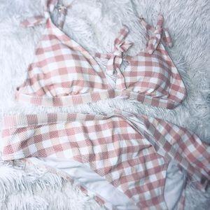 Checkered Print Bikini - Light Pink/White